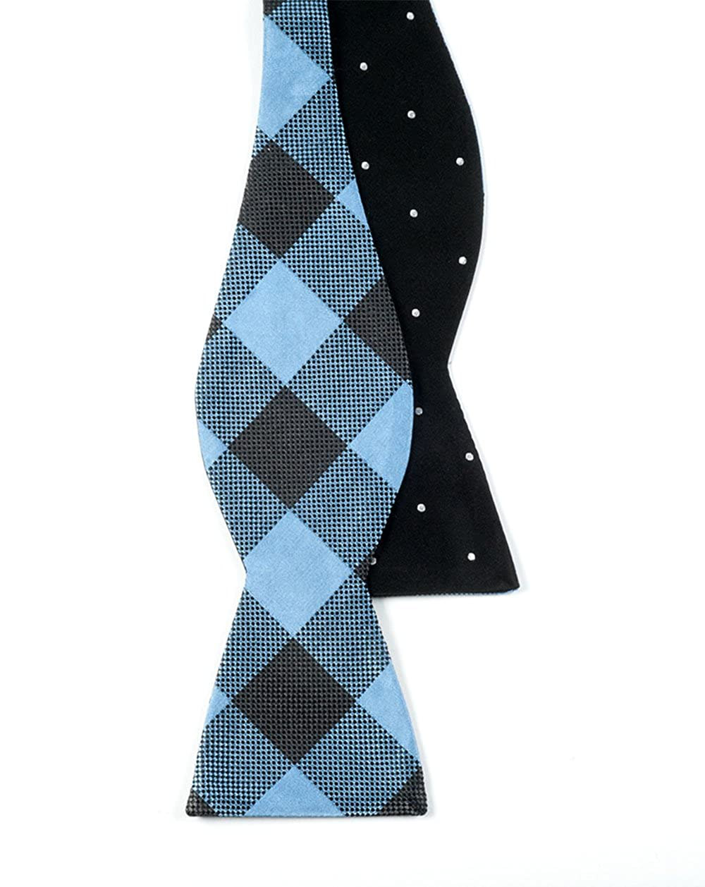The Tie Bar 100/% Silk Black Light Blue Dot Buffalo Reversible Self-Tie Bow Tie