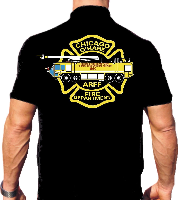 Polo da black, Chicago Fire Dept, O'Hare Int'l Airport, multicolore O' Hare Int' l Airport feuer1