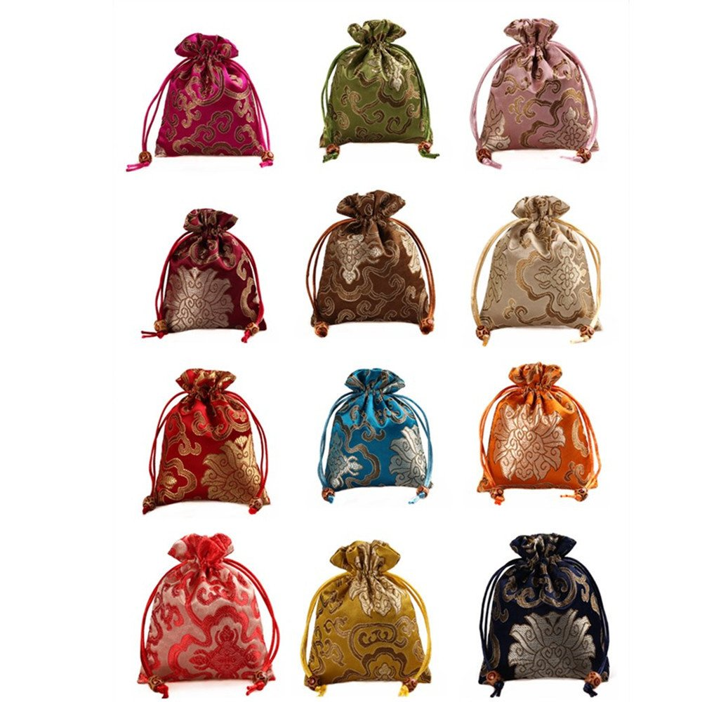 2500 Silk Brocade Sachet Candy Drawer Pouch Jewelry Travel Drawstring Coin Purse Bag H6.3''W5.1'' 12pcs/set SND007M