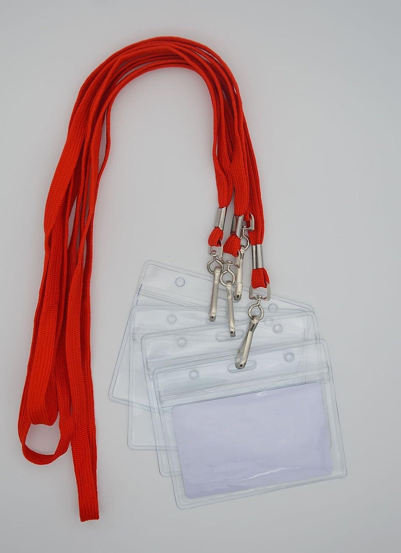 lot de 50, Rouge Bird Fiy Cordon pour badge de//paires  tiss/é Round Lanyard /& horizontal /étanche en plastique transparent refermable carte didentit/é Nom Tag support
