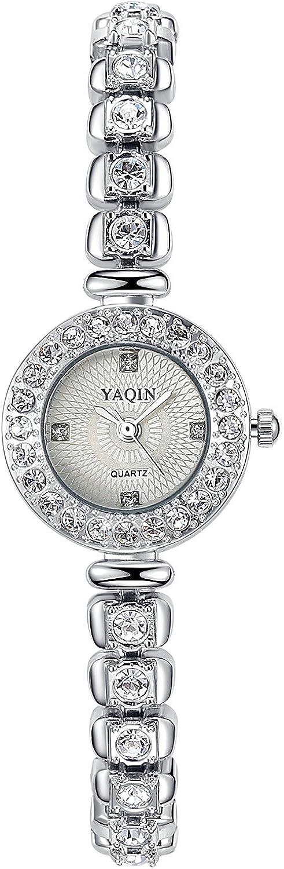 Ostan Joyería Mujeres Moda Chapado en Oro Cuarzo Pulsera Relojes con Crystals y Circonio Cúbico - Plata