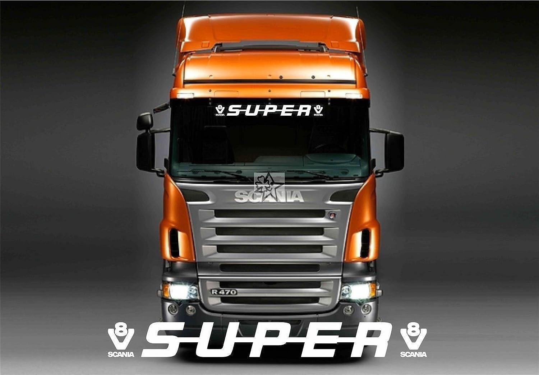 SCANIA No116 SUPER V8 Windschutzscheibe ca 90 cm Aufkleber LKW Truck Tuning Trucker Sticker Decal von MYROCKSHIRT