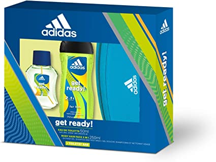 Adidas Get Ready! Set para Hombre, Contiene: Neceser Adidas + Get Ready! Eau de Toilette 50 ml + Get Ready! Body Hair Face 3 in 1 Shower Gel 250 ml: Amazon.es