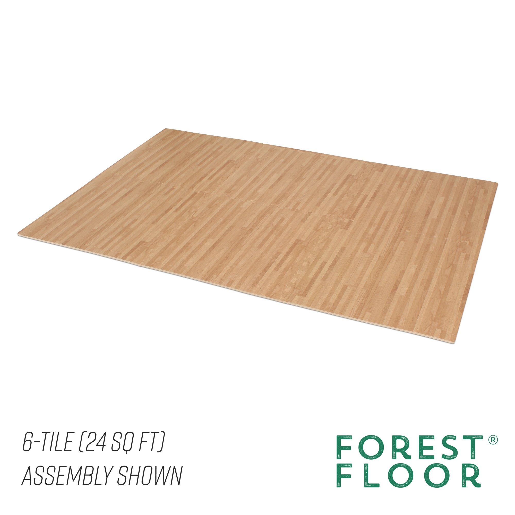 Forest Floor 3/8'' Thick Printed Wood Grain Interlocking Foam Floor Mats, 16 Sq Ft (4 Tiles), White Oak by Forest Floor (Image #5)