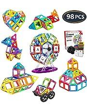 Jasonwell Creative Magnetic Building Blocks for Boys Girls Magnetic Tiles Building Set Preschool Educational Construction Kit Magnet Stacking Toys Christmas Gift for Kids Toddlers Children 3 4 5 6 7 8 9 Years Old (98)