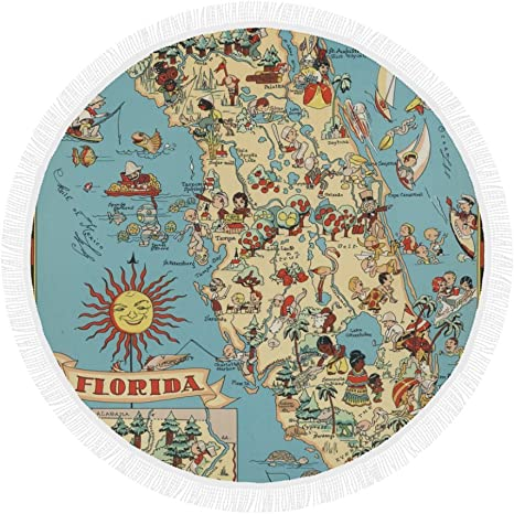 Amazon Com Vintage 1935 Florida State Map Round Beach Mat Towel Tapestry Blanket For Yoga Swim Camping Travel 59 Home Kitchen