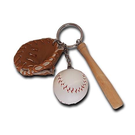 Mini bate de béisbol glowooden de tres piezas llavero ...