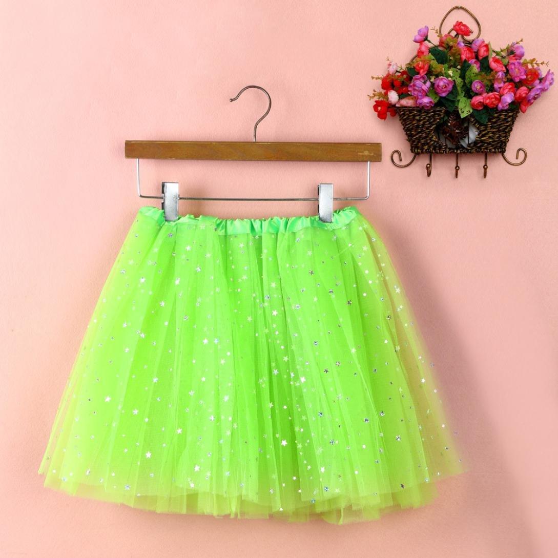 Sinwo Womens Girl Cute Pleated Gauze Short Skirt Adult Tutu Dancing Skirt Basic Skirt (Green)