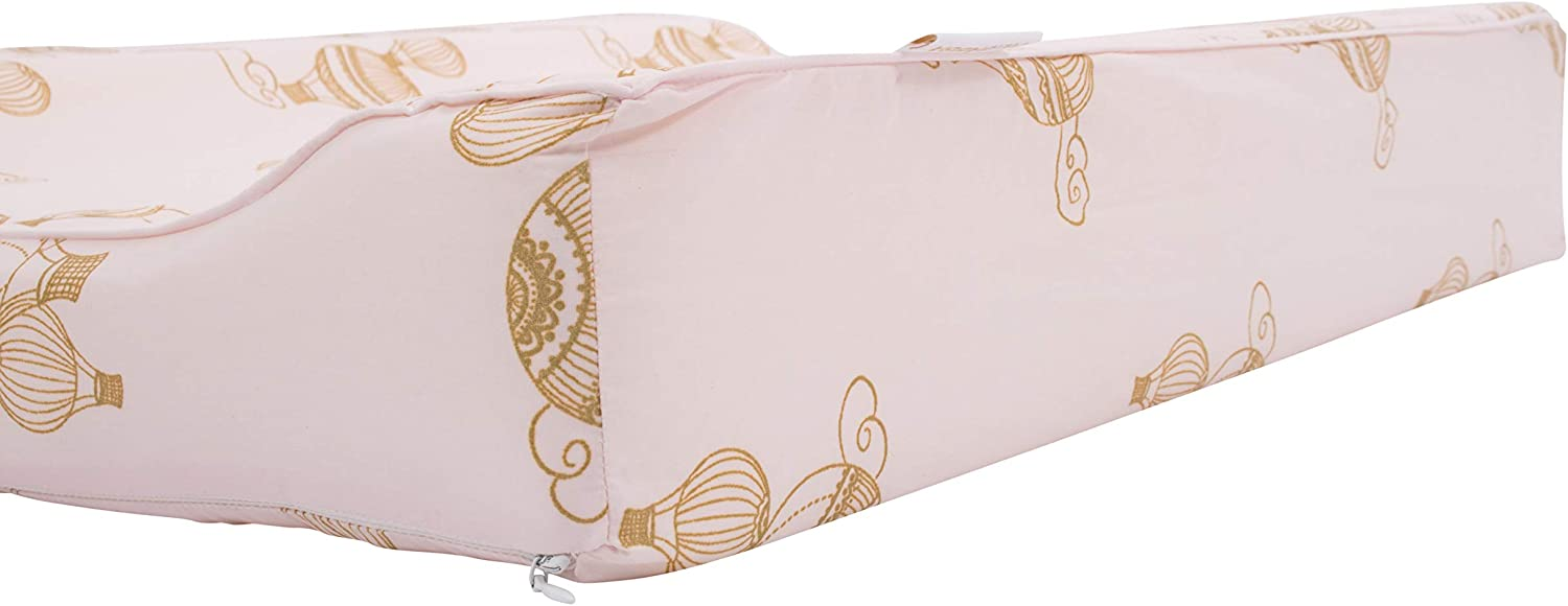Water-Repellent Wedge Changing mat for Your Baby Danish Design Filibabba/® Deluxe Baby Changing mat 65x50cm Washable Luxury Changing mat Made of Organic Cotton Airballoon Light Rose PU Coated