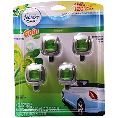 Febreze Car Vent-clip Air Freshener, Gain Original, 4 Count: Health & Personal Care