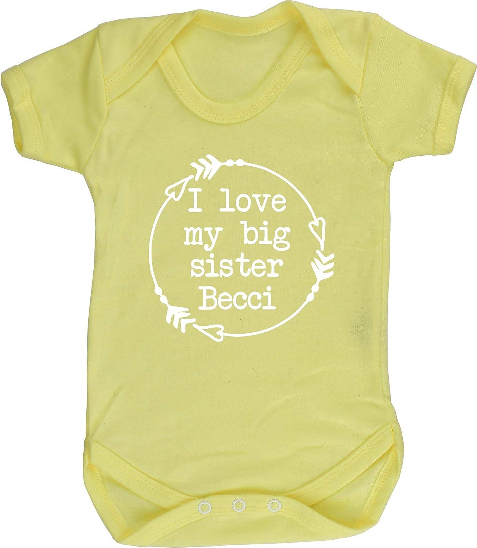 Boys Girls Short Sleeve Hippowarehouse Personalised I Love My Big Sister Name HERE Baby Vest Bodysuit