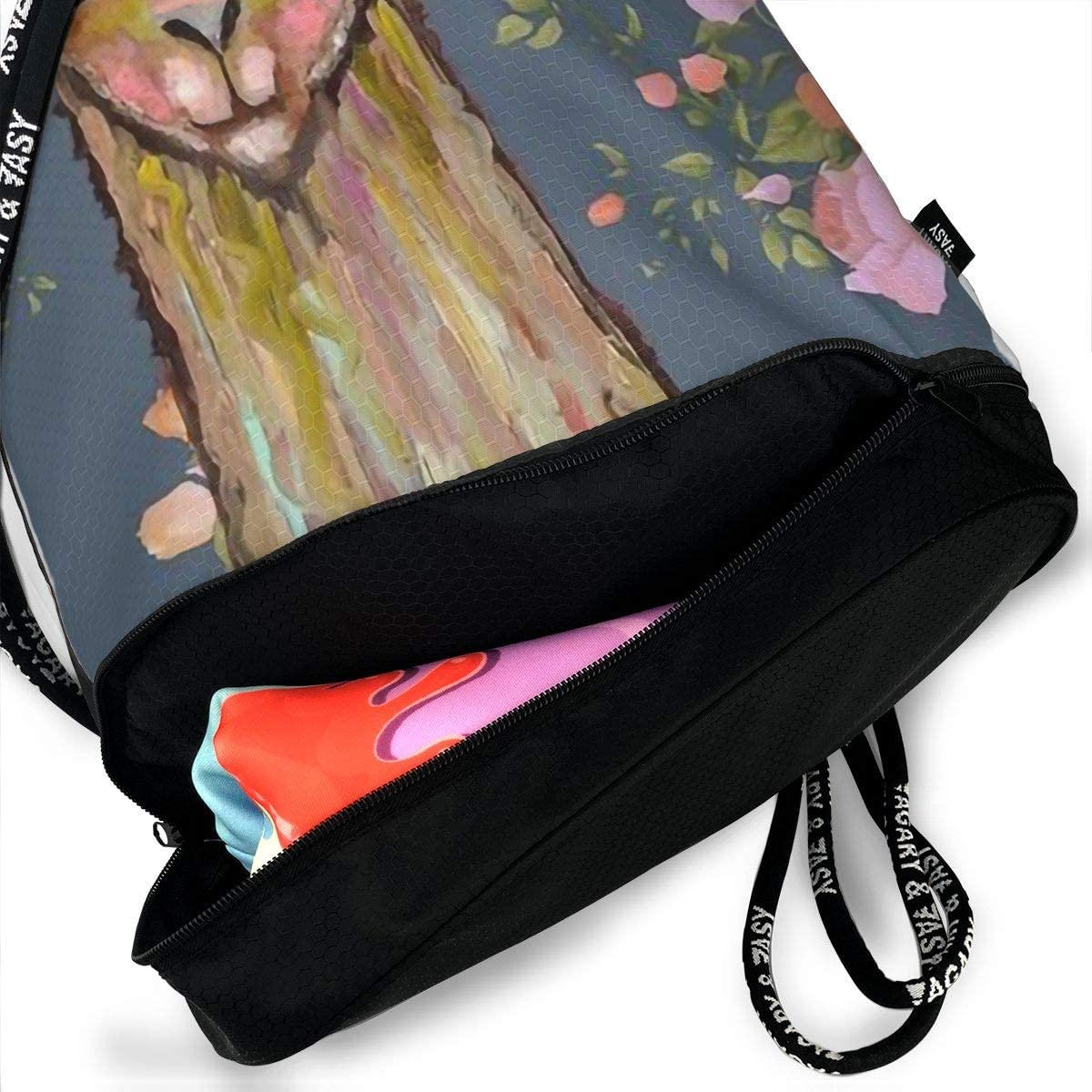 Drawstring Backpack Llama In Floral Gym Bag