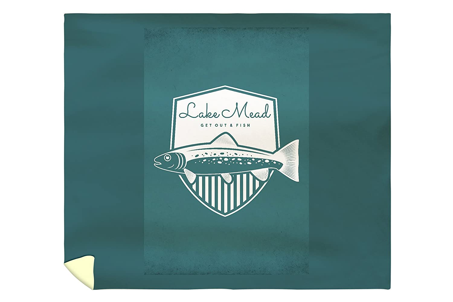 Lake Mead - Get Out and Fish - Trout - Badge (88x104 King Microfiber Duvet Cover)