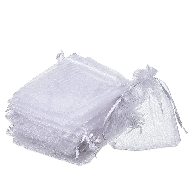 EPRHY Lot de 50 Pochettes /à drag/ées en Organza avec Cordon de Serrage Blanc