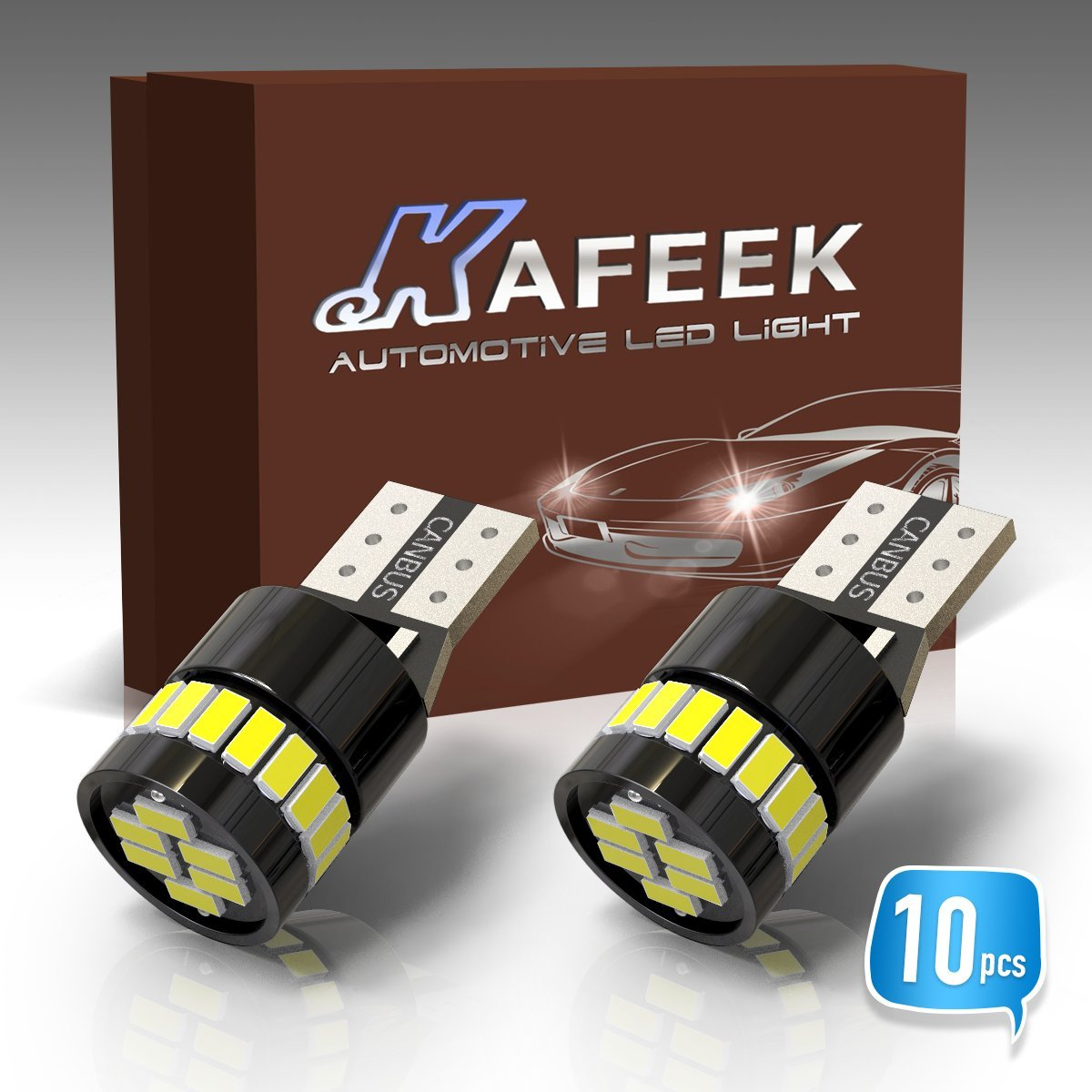KAFEEK 10x Canbus T10 Wedge 194 168 2825 W5W LED Bulbs 24-3014SMD Chipset Canbus Error Free Car License Plate Lights Interior Lights Dome Map Door Courtesy Lights,Xenon Withe