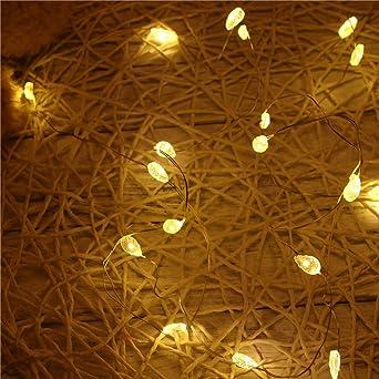 LEEDY - Guirnalda de 20 luces LED, decoración para el hogar, jardín, luces de batería, Navidad, boda, fiesta, festival, escenario, ambiente de lámpara, 2 m: Amazon.es: Iluminación