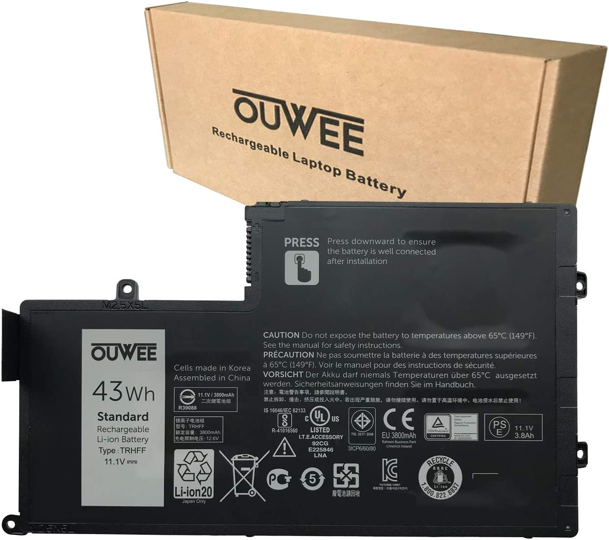 OUWEE TRHFF Laptop Battery Compatible with Dell Inspiron 14 5442 5443 5445 5447 5448 5457 15 5542 5543 5545 5547 5548 5557 Latitude 3450 3550 Series OPD19 0M7T5F 0M6WKR 11.1V 43Wh 3800mAh 4-Cell