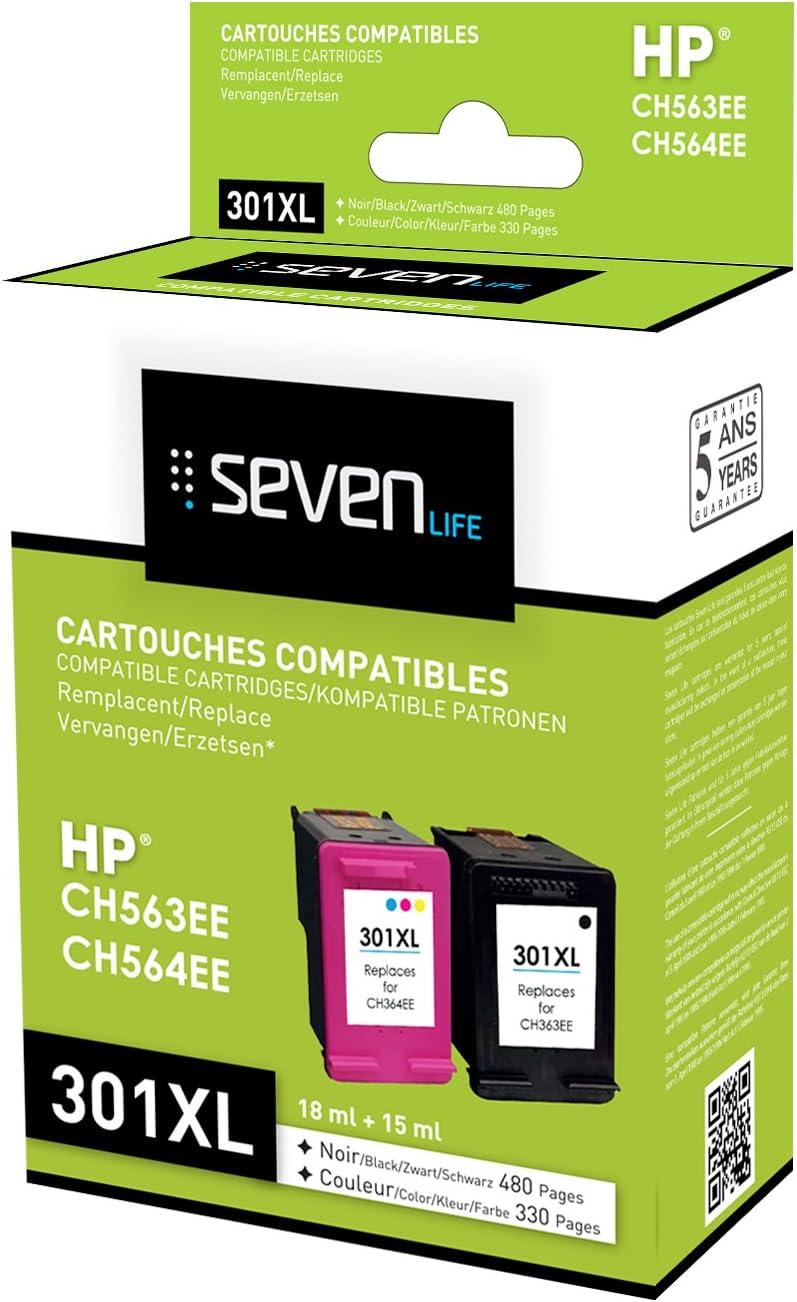 Seven Life Compatible HP301 XL BK/HP301 XL Cl Pack de 2 Cartuchos ...