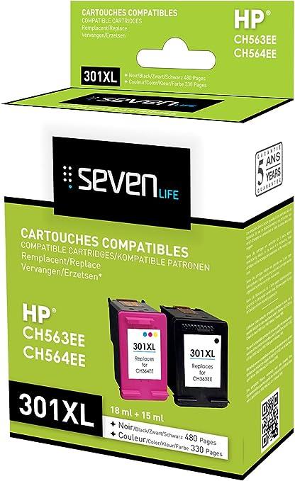 Seven Life Compatible HP301 XL BK/HP301 XL Cl Pack de 2 Cartuchos: Amazon.es: Informática
