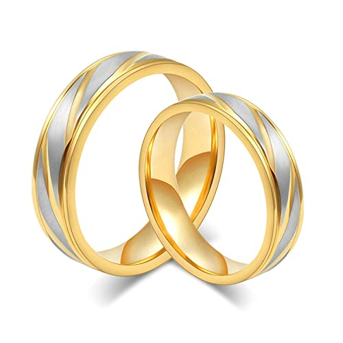 Amazon.com: EoCot Stainless Steel 1 Pair High Polished Matte Finished Gold Tone Couple Rings Women 5 & Men 10: Jewelry