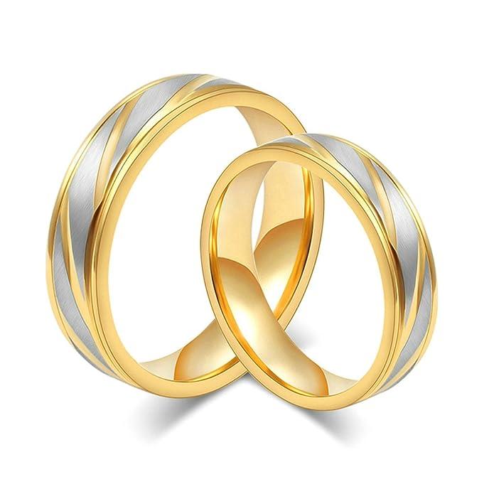 Amazon.com: daesar 2 piezas anillos de boda con grabado de ...