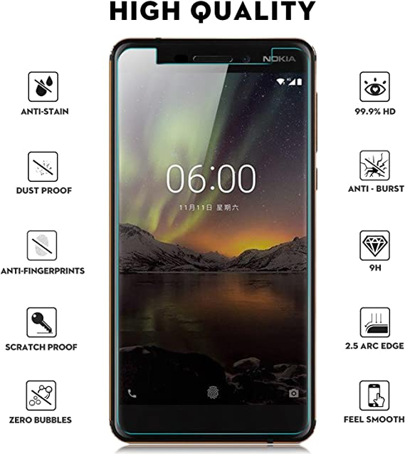 KuGi Nokia 6 2018 Protector de Pantalla, Cristal Templado Vidrio ...
