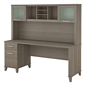 Bush Furniture Somerset 72W Office Desk with Hutch in Ash Gray