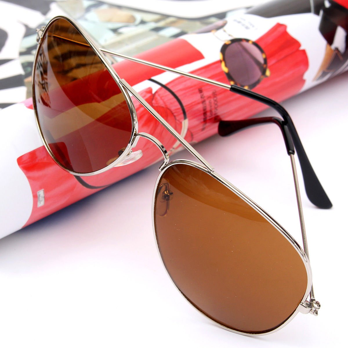 Silver Frame /& Brown Lens Unisex Women Men Vintage Retro Fashion Aviator Mirror Lens Sunglasses Glasses US