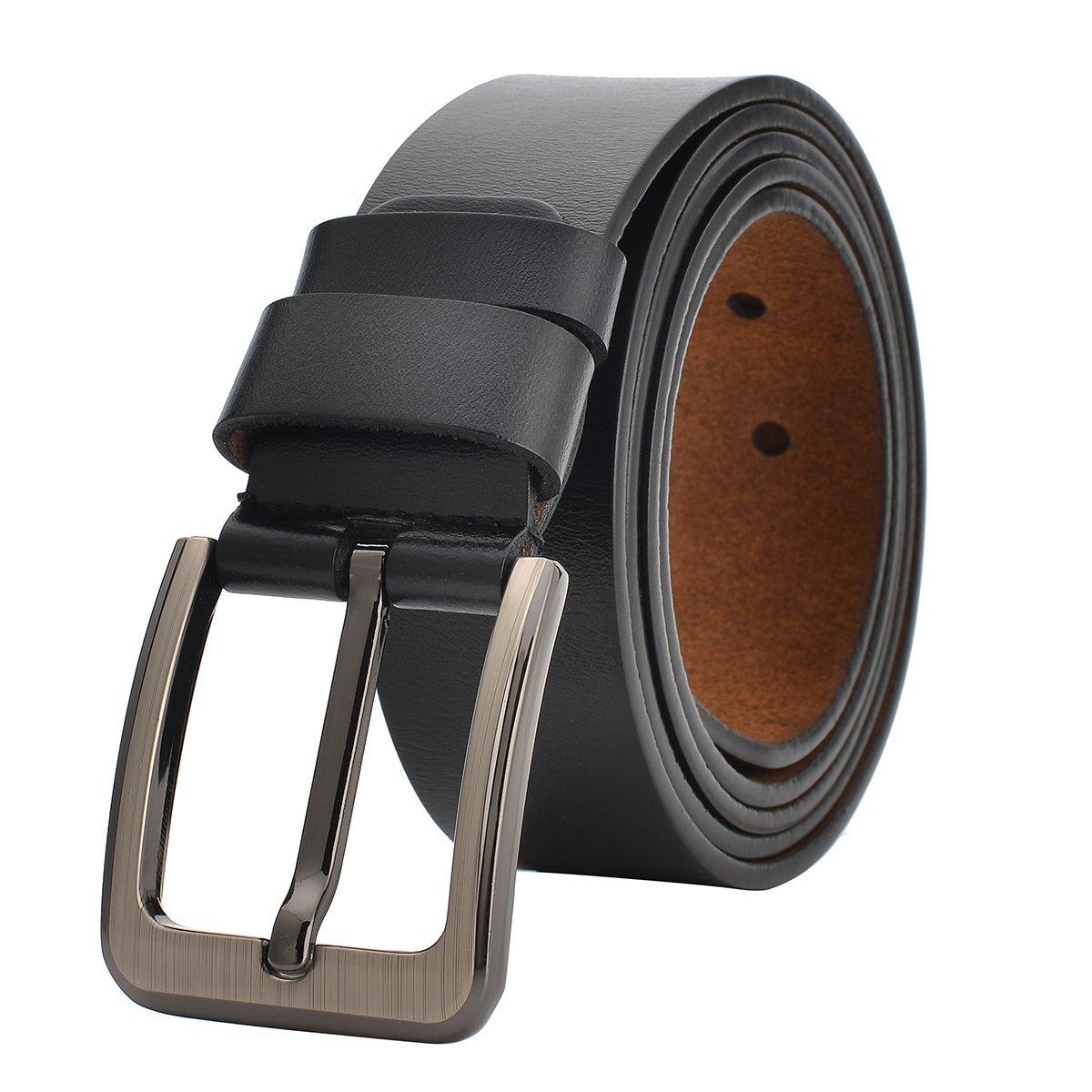 Men Dress Belt Genuine Leather Adjustable for Waist up to 155cm/60' Big & Tall (Waist 40'-43', Black)