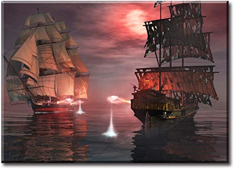 Ship Stretched Canvas Ready to Hang Art Watercraft Wrapped Canvas Art Print Wall Decor Wall Hanging Of Water Transport Vehicle