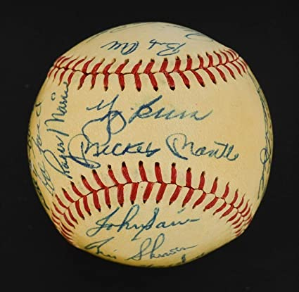 a4f136ec5 Exceptional 1961 Wsc Yankees Team Autographed Signed Ball with Mickey Mantle  & Roger Maris Memorabilia PSA/DNA at Amazon's Sports Collectibles Store