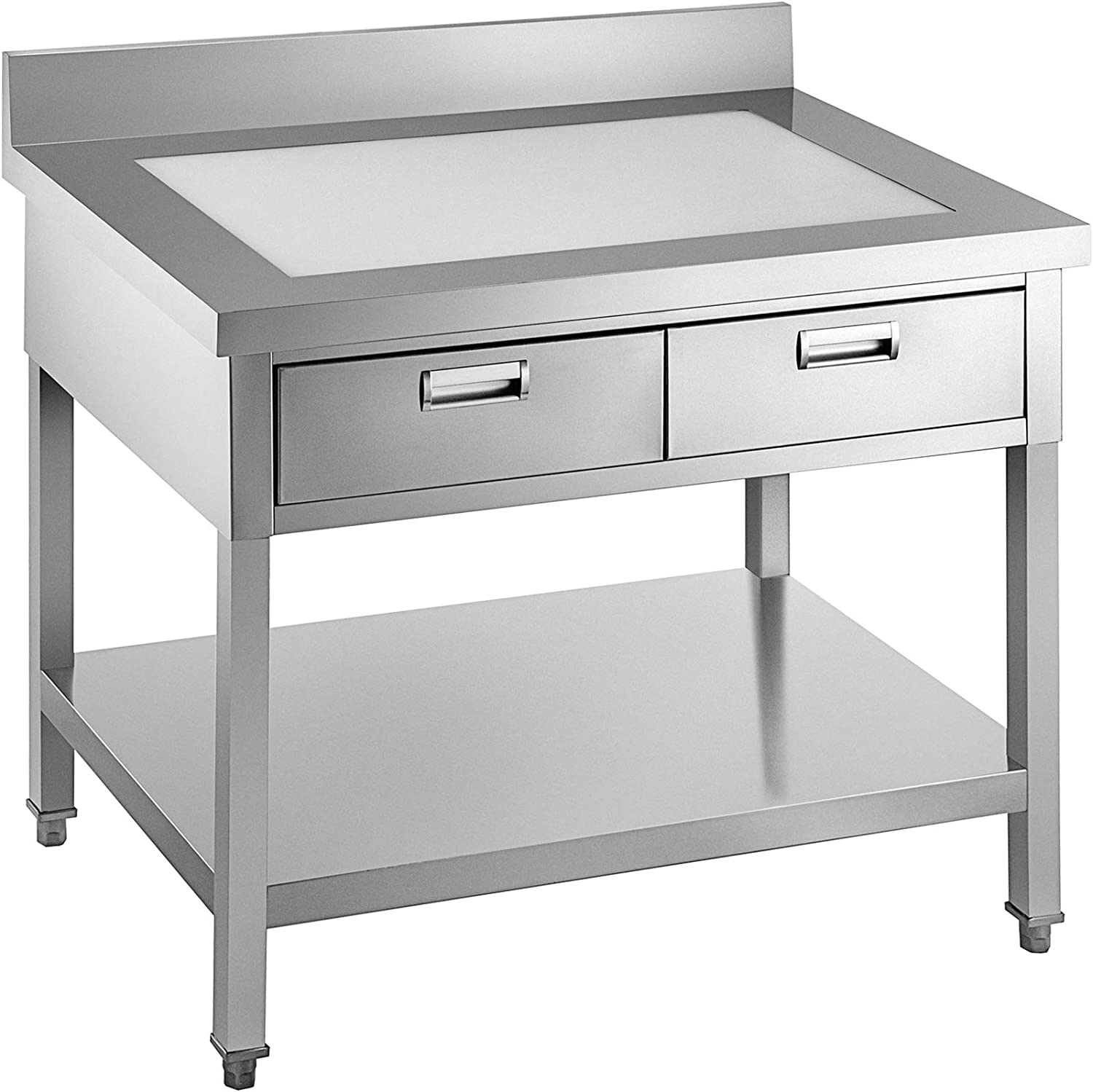 VEVOR Commercial Worktable Workstation 24 x 28 In Commercial Food Prep Worktable with 2 Drawers, Undershelf and Backsplash, 992 lbs Load Stainless Steel Kitchen Island for Restaurant, Home and Hotel