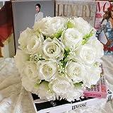 Dragon868 18Head Kunstseide Rosen Blumen Brautstrauß Rose Home Wedding Decor (B, Künstliche Blume)
