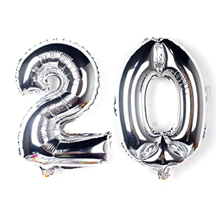KIYOOMY 40 Number 20 Balloon Silver Gaint Jumbo Foil Mylar Balloons For 20th