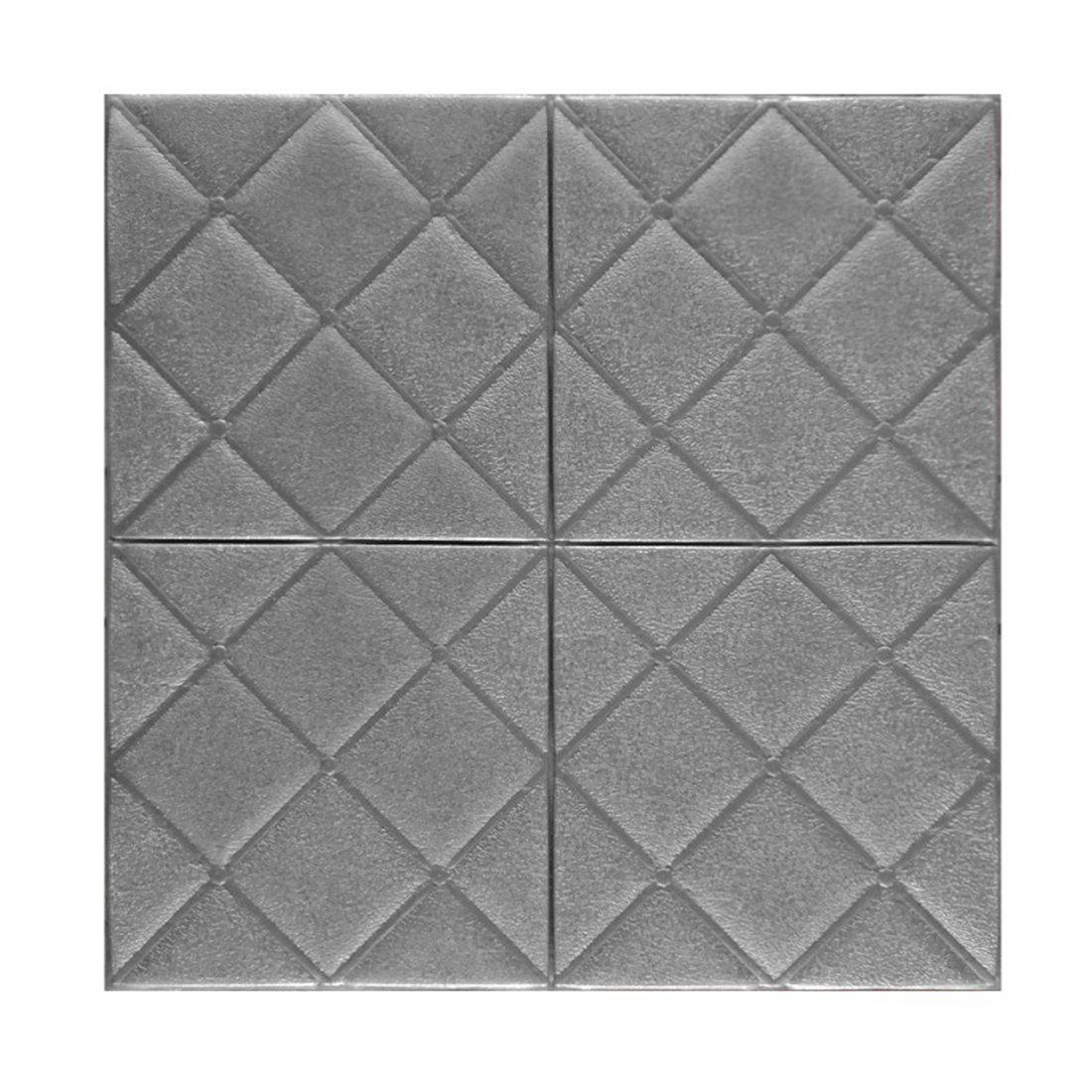 (Enerhu)3D壁紙 3D壁紙パネル 3Dウォールステッカー 壁紙シール ウォールステッカー DIY 簡単貼付シール 防水 壁紙 健康 補修簡単 ダイヤモンド柄 賃貸OK 幼稚園 60*60cm 5枚入り グレー B07DS67ZJF 13770 60*60cm(5枚入り)|グレー グレー 60*60cm(5枚入り)