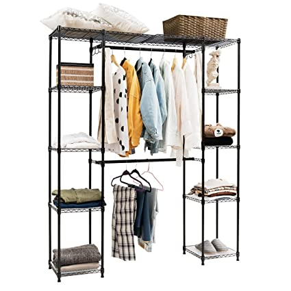 Tangkula Garment Rack Portable Adjustable Expandable Closet Storage  Organizer System Home Bedroom Closet Shelves Clothes Wardrobe (Black)