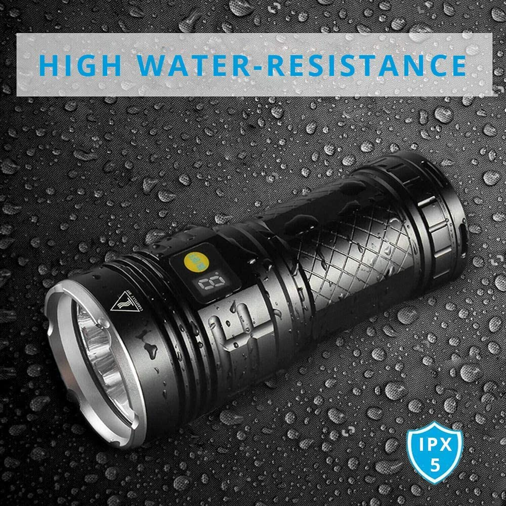 18 LEDs LED Flashlights High Lumens Rechargeable Flashlight 4 Modes 10000 Lumen Powerful Flashlights with Built-in Battery and Power Display for Outdoor Hiking Camping Emergency