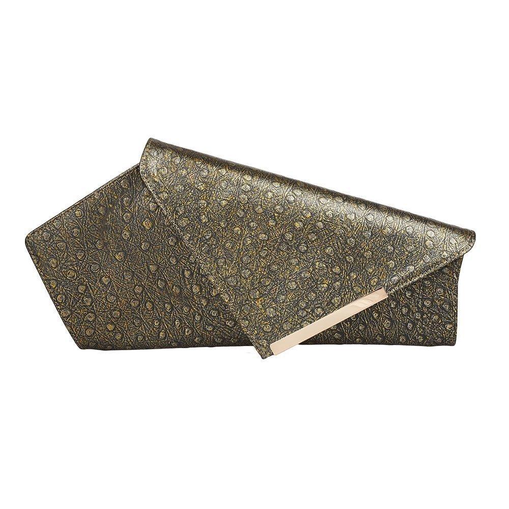 Metallic Grey Leather Clutch Asymmetrical Bag