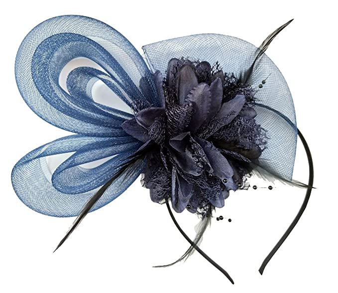 Women s Fascinators Hat Small Hairpin Feather Mesh Flower Hairclip (Z Navy  Blue) 6e5fb56772b