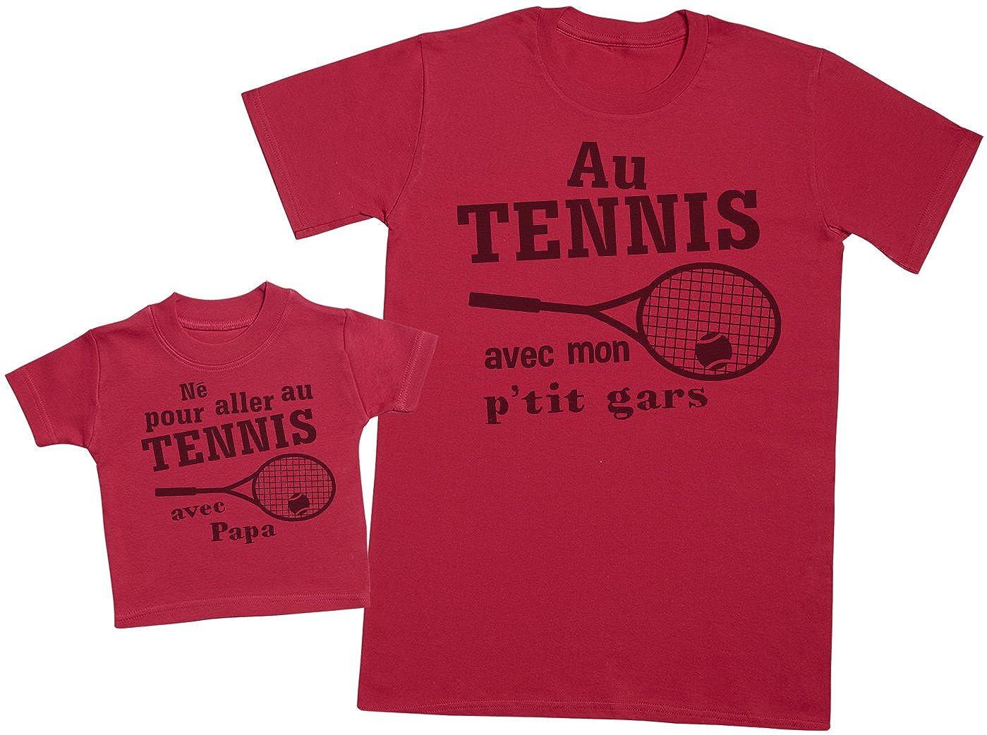 Né pour aller au tennis avec papa - Ensemble Père Bébé Cadeau - Hommes T-shirt & T-Shirt bébé