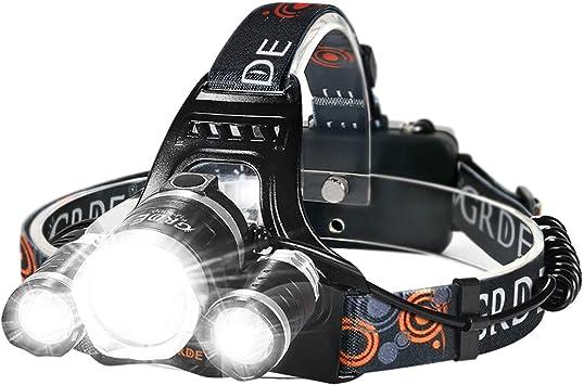 USB DEL Headlamp Headlight Head Torch Lumière étanche Lampe