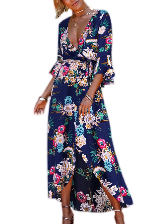 YACUN Mujeres Mangas Campana Boho Hendidura Impreso Maxi Vestido De Fiesta En La Playa: Amazon.es: Ropa y accesorios