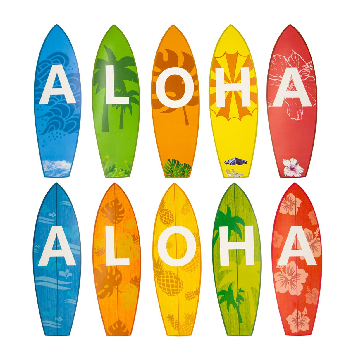 Amazon.com: Aloha Surfboard Cutouts for Classroom Luau Beach Party ...