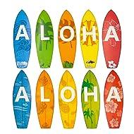 Aloha Surfboard Cutouts for Classroom Luau Beach Party Decoration 10 Pcs