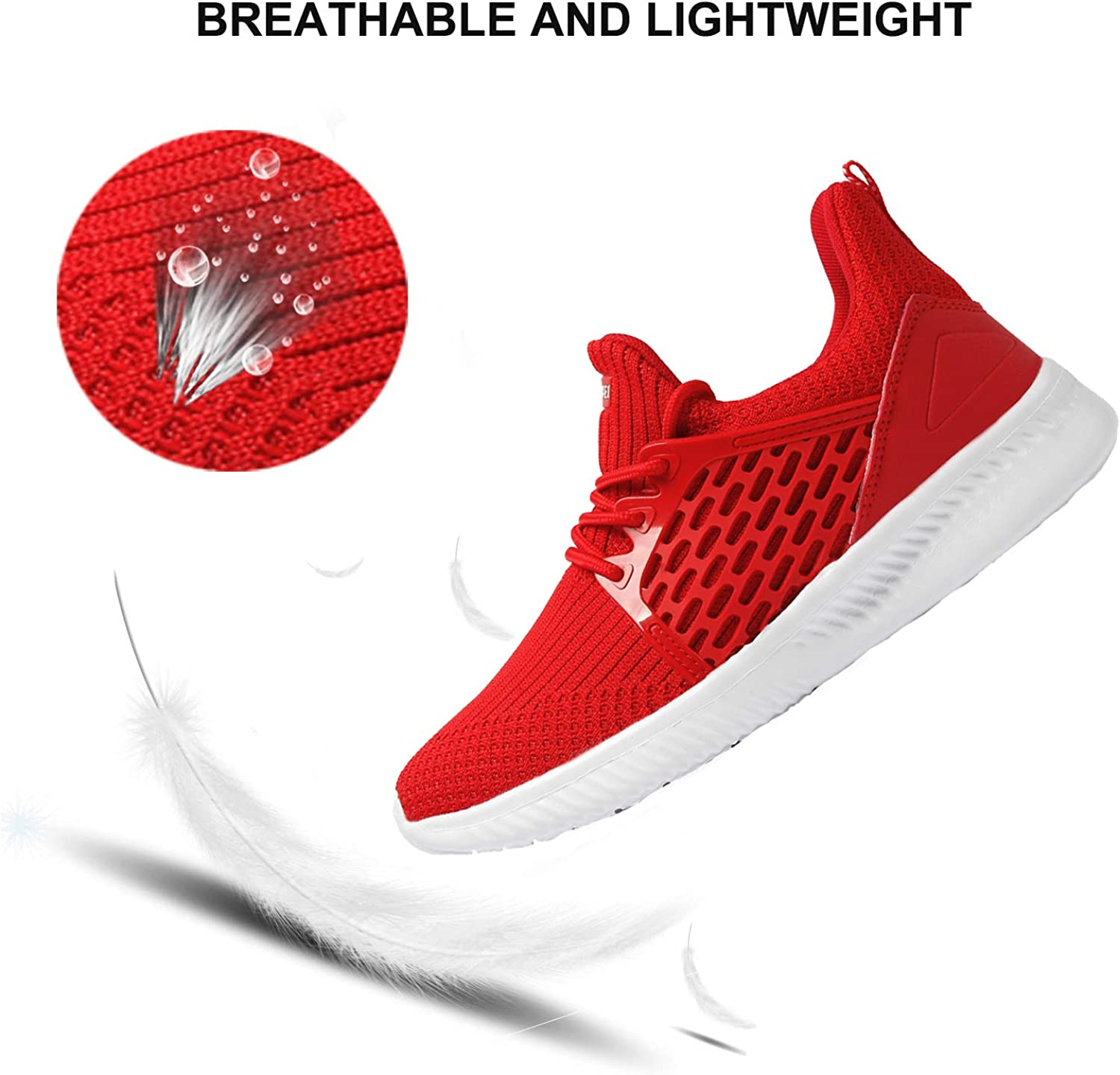 AMAWEI Boys Girls Sneakers Lightweight Breathable Casual Athletic Shoes for School Gym Tennis Running Walking Hiking