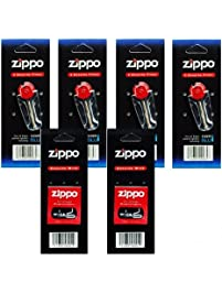 Sports Fan Cigarette Lighters 2145 Zippo Lighters Replacement 6 Value Packs (24 Flints+ 2 Wicks), Small