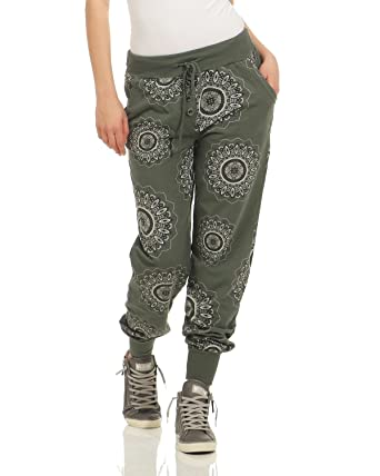 ZARMEXX Pantalon de survêtement pour Femme Pantalon de Jogging en Coton  Pantalon décontracté Relax Fit Pantalon pour Femme Mandala imprimé armée  Taille ... 2e4fa6b9372