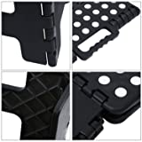 NONMON Plastic Folding Step Stool Black - Great for Kitchen, Bathroom, Bedroom, Kids or Adults 11.2'' x 8.5'' x
