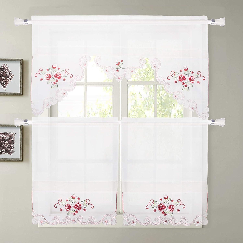 Amazon.com: JIBUFANG Kitchen Curtain Tiers, 3 Pieces Kitchen ...