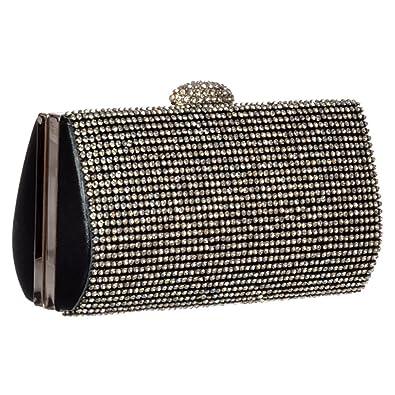 3b61a15573 Onlineshoe Women s Ladies Diamante Rhinestone Hard Case Evening Clutch  Handbag Purse Evening Bags Black Diamante